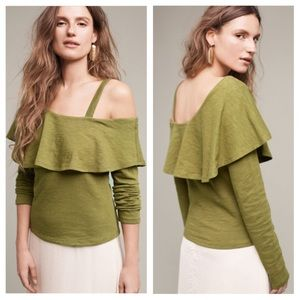 Anthropologie M Holly Asymmetrical Ruffle Top